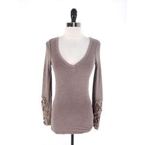 Free People Lace Cuffs Vneck Thermal Top